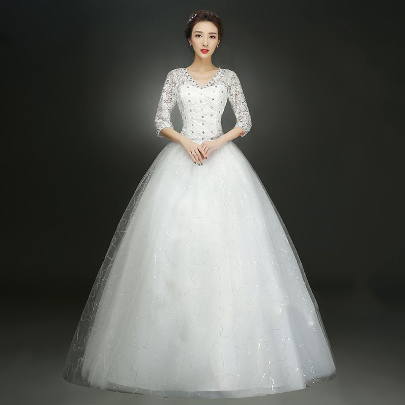 Wedding Dress Bride's Lace Up Ball Gowns Wedding Dresses Red/White Dress With Shoulder Sleeves New V Neck Plus SSize