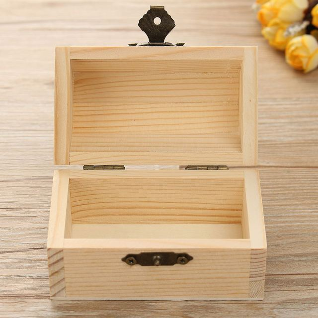 Wooden Storage Box Natural With Lid Golden Lock Postcard Home Organizer  Handmade Craft Jewelry Case Bank
