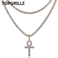 TOPGRILLZ Hip Hop Ankh Cross Pendant Necklace Two Tennis Chains All Iced Out Micro Pave AAAA