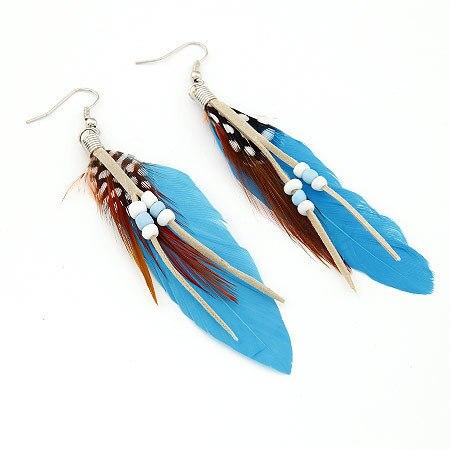 Women Feather Earrings 2017 Fashion New Colorful Vintage Long Dangel Earring Brinco Jewe ...