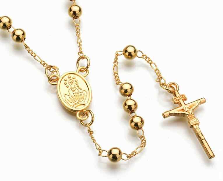 New Fashion Gold Silver Color Jesus Cross Pendant Necklace Beads Chain For Women Men Virgin Mary Rosary Prayer Religious Jewelry