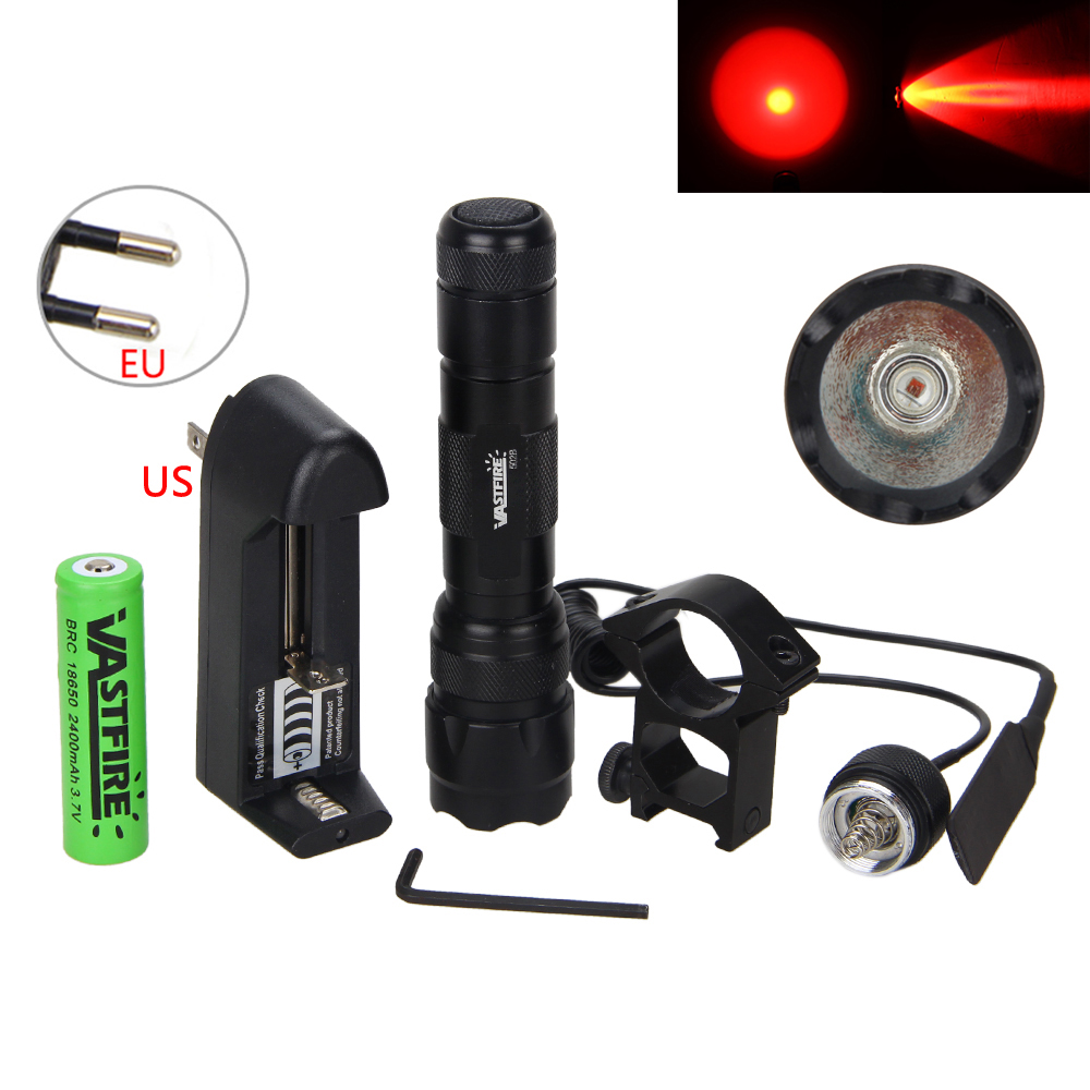 Rechargeable 5000LM Q5 LED flashlight Hunting Bright light torch Lamp+18650+Charger+Mount