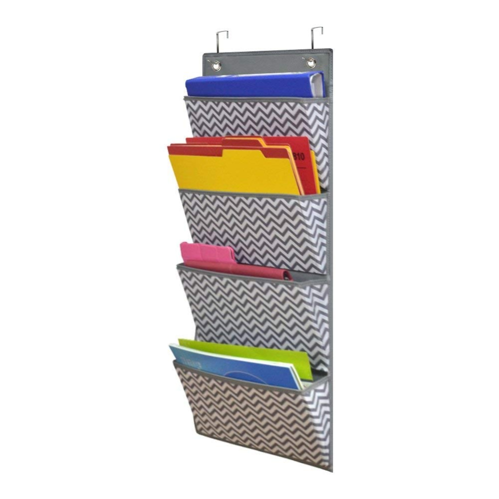 Godery Hanging Wall Organizer, Wall Mount/Over The Door Office Supplies Filing Folders, Fabric 4 Pocket Cascading File Organizer