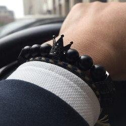 Mcllroy bracelet men/bead/stone/skull/luxury/jewelry/bracelets bangles black natural stone crown cz zircon bracelet male jewelry