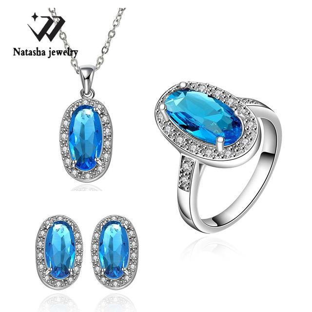 Top Fashion New Nigerian African Beads Extravagant Party Jewlery Set For Lady Fashion Big Necklace Ring Earrings Crystal