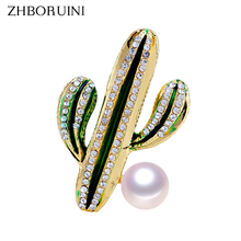 ZHBORUINI 2019 New Natural Pearl Brooch Cactus Breastpin Freshwater Jewelry For Women Birthday Gift Accessories
