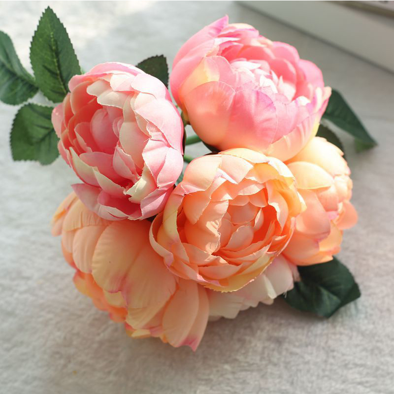 Craft Silk Bunch Handmade Artificial Flowers Bridal Bouquet Fake Roses Peony