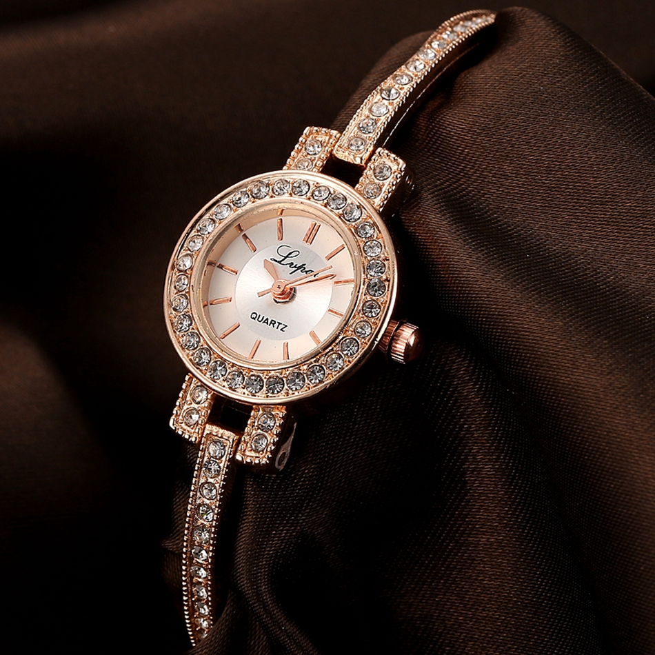 2017 New LVPAI Brand Luxury Crystal Rose Bracelet Watches Women Fashion Quartz WristWatches Gold Watches Ladies Business Clock new 2017 brand jw crystal bracelet watches women clock luxury rose gold dress wristwatches ladies casual analog quartz watch