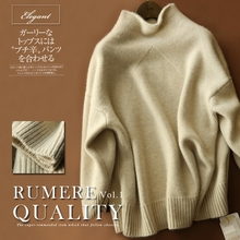 JECH autumn and winter new half-high collar sweater fashion casual bat sleeve loose quality thick large size cashmere