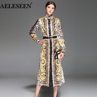 AELESEEN Vintage Runway Dress Women 2018 Summer Fashion Sashes Mid Calf Plus Size XXXXL Split Luxury Leopard Print Dress