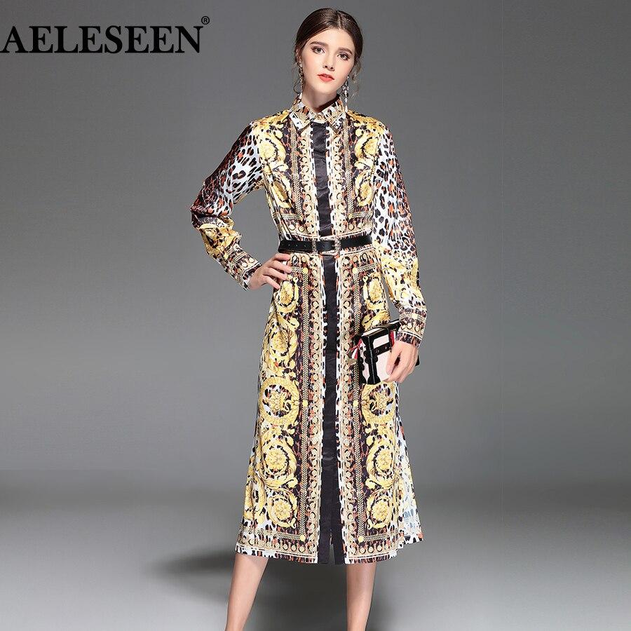 AELESEEN Vintage robe de piste femmes 2018 été mode ceintures mi-mollet grande taille XXXXL Split luxe imprimé léopard robe