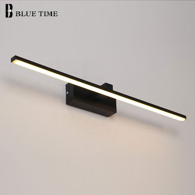 Wall Sconce LED ไฟผนังสีดำและสีขาว Bathrroom โคมไฟติดตั้งภายในบ้านโมเดิร์นขนาดใหญ่ L100 80 60 40 ซม.Lustres