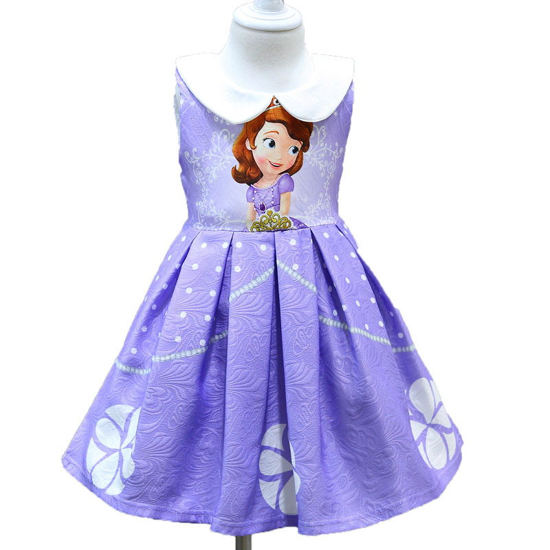 Kids Summer Princess Sofia Dress Baby Girls Cartoon Printed Vestidos Dress Girls Christmas Party Dresses Children Kids Clothing 2018 teenage girls summer casual dress girls cotton dresses kids letter printed beach dress girls slim dresses vestidos cc804