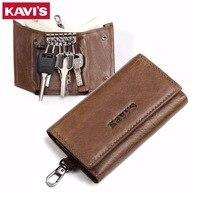 KAVIS Genuine Leather Housekeeper Key Wallet Man Ring Case Holder Smart Organizer Bag Coin Pocket Keychain