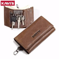 KAVIS Genuine Leather Housekeeper Key Wallet Man Ring Case Holder Smart Organizer Bag Coin Pocket Keychain