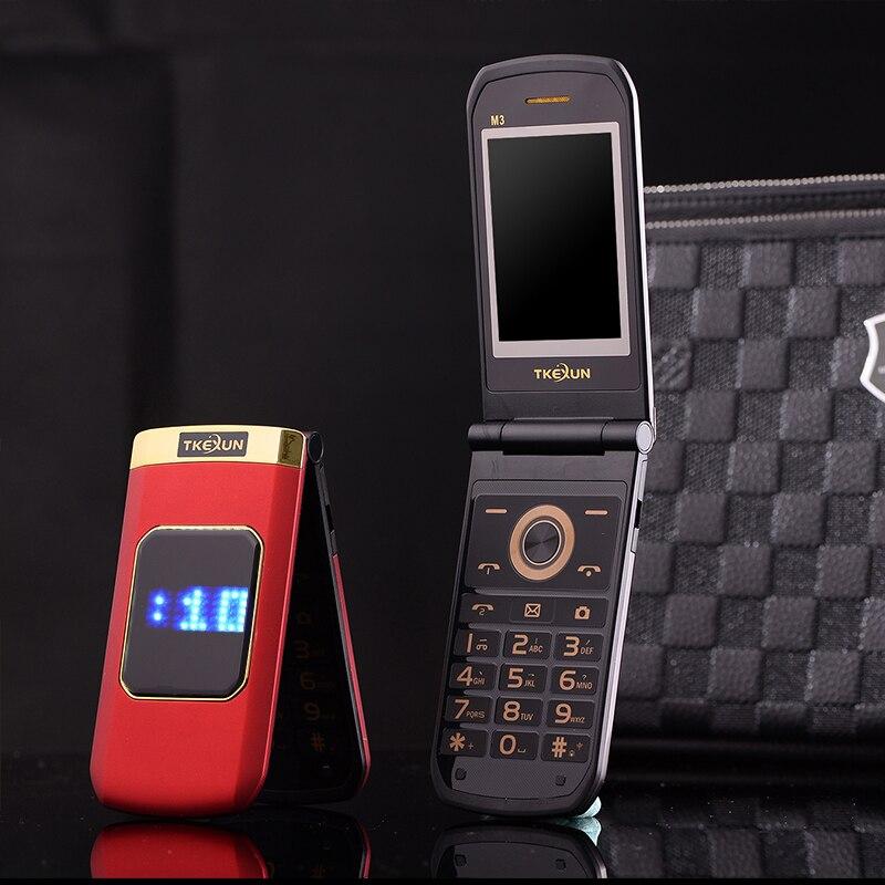 Slim dual display dual sim flip große schrift lauter ton touchscreen anti-slip metall körper blacklist senior mobile telefon P303