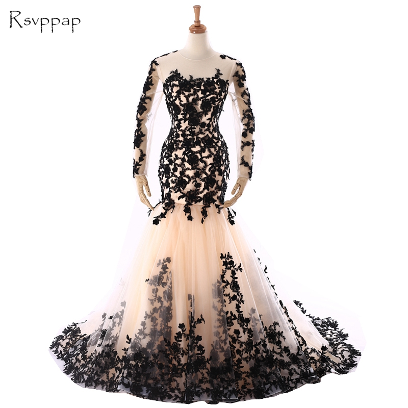 Long Evening Dress 2018 Gorgeous Mermaid Sheer Long Sleeve Black Lace Floor Length Champagne Women Evening Gowns