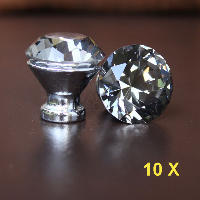 grey crystal drawer knobs 30mm kitchen cabinet handle pull glass ...