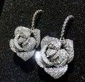 Brand New Горячие продажа Platinum Покрытием AAA кубический циркон твердые розы свадьба серьги падения мода женщины себе ювелирные изделия