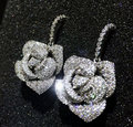 Brand New Hot sale Platinum Plated AAA cubic zircon solid rose flower wedding drop earrings fashion women statement jewelry