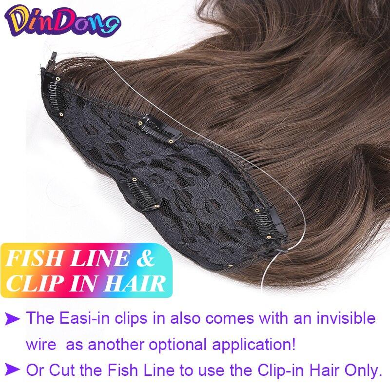 DinDong Fish Line Hårstycken 18 tum Syntetisk Fish Line Clip i - Syntetiskt hår - Foto 3
