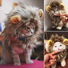 Furry Pet Hat Costume Lion Mane Wig For Cat Pets Halloween Fancy Dress Up With Ears Home Drop Shipping