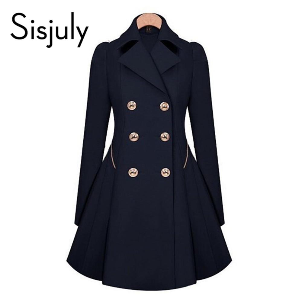 Sisjuly Vintage Trench Coats Women Blue Elegant Work Formal Winter OL Windbreake