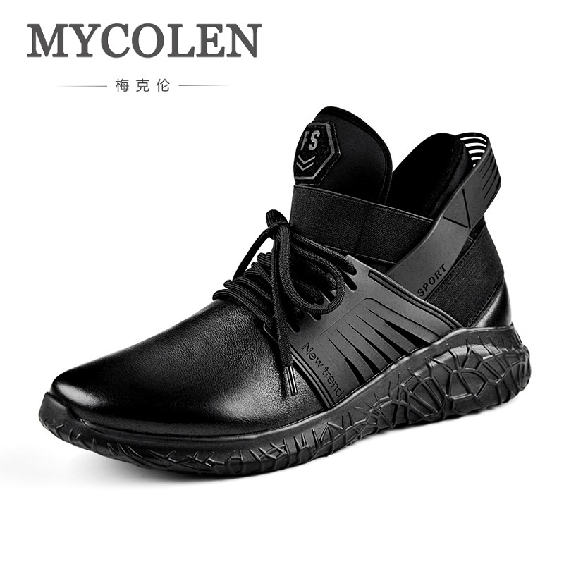 MYCOLEN Spring Autumn Men's Casual Shoes Breathable Men Shoes Black Leather Durable Lace-Up Men Shoes Tenis Casual Masculino klywoo new white fasion shoes men casual shoes spring men driving shoes leather breathable comfortable lace up zapatos hombre