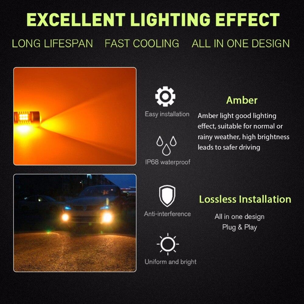 Katur 9005/HB3 9006/HB4 Yellow Car Led Fog Light Daytime Driving Running DRL Led Light Bulb Led Orange 6000K White For
