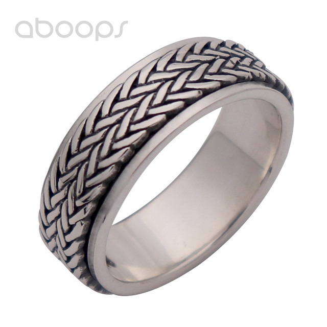 8mm Mens Vintage Black 925 Sterling Silver Braided Rope Spinner Ring Band Jewelry Size 8 9 10 11 11.5 Free Shipping
