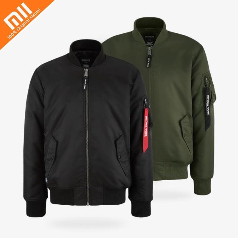 Original xiaomi MITOWN LIFE classic bomber jacket 100% nylon windproof warm classic style jacket men and women jacket sleeve patched shoulder zip bomber jacket