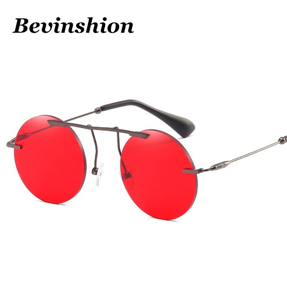 New 2018 Men Women Round Sunglasses Chic Nose Bridge Rimless Long Beam Vintage Sun -6175