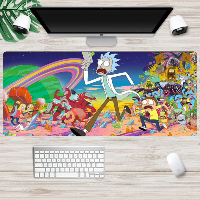 Large 70x30cm Gaming Mouse Pad Rick And Morty Anime Mousepad Locking Edge Non-Skid  Office Notbook Desk  Pc Gamer Mat