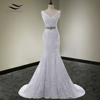 Solovedress Beaded V Neck Cap Sleeves Mermaid Lace Wedding Dress With Sash 2016 Bridal Gown Vestido