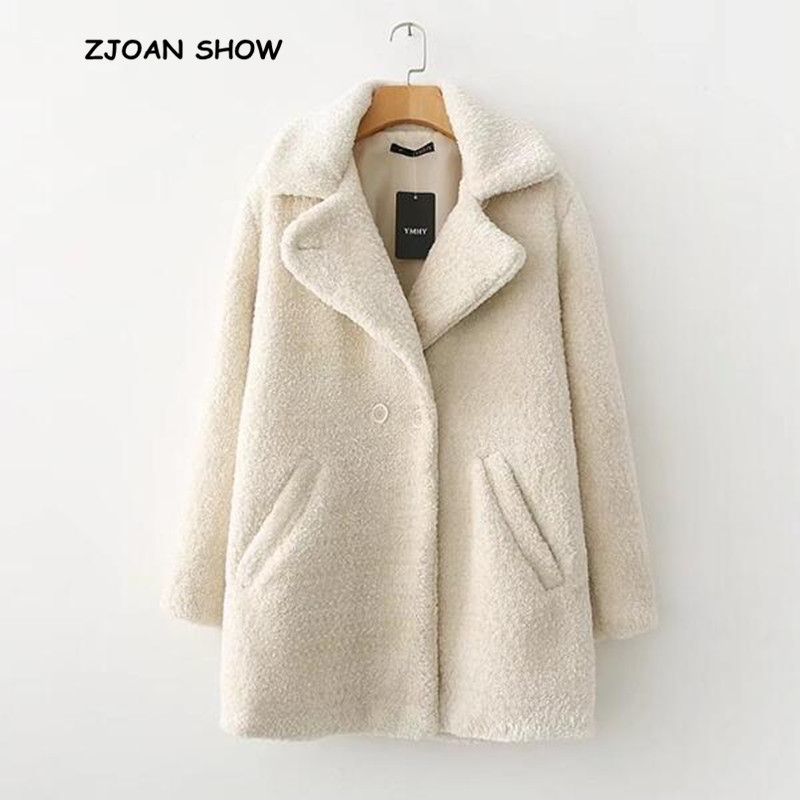 Stylish Notched Collar Hairy Shaggy Faux Fur Long Coat Beige New 2018 Woman Shearling Fluffy Mid