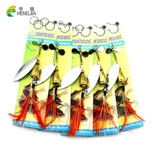 5PC HENGJIA 8.4cm 13g spinnerbait Metal Bass Sequin isca Artificial feather fishing hook Spoon pesca Pike Fishing lure bait
