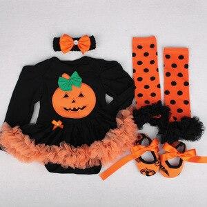 Image 4 - 4 Uds. De ropa para niñas recién nacidas, mono, traje de calabaza, conjunto de Calavera, ropa de Halloween, para fiesta, Cosplay