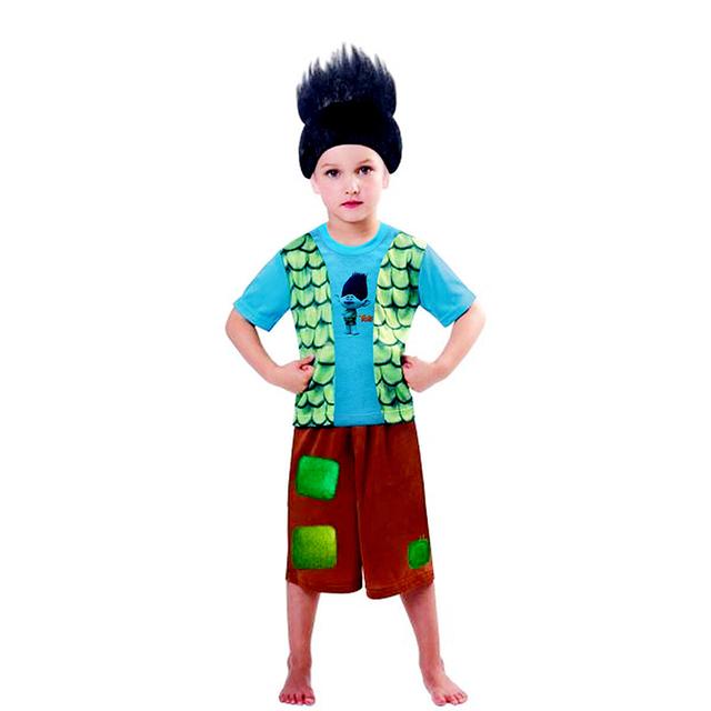 2017 verão mais novo crianças conjuntos dos desenhos animados trolls moda terno meninos define t-shirt + pant 2 pcs dress crianças trajes cosplay roupas