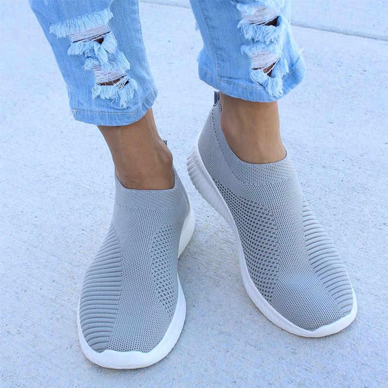 Женские весенние кроссовки больших размеров; вязаные носки; женская Вулканизированная обувь; Повседневная обувь без застежки на плоской подошве; мягкая прогулочная обувь из сетчатого материала