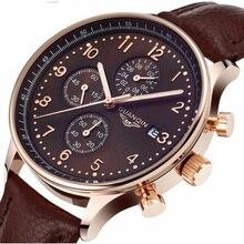 Los hombres de lujo relojes de pulsera de cuarzo militar marca guanqin hora fecha reloj hombre cronógrafo relojes deportivos de moda de cuero