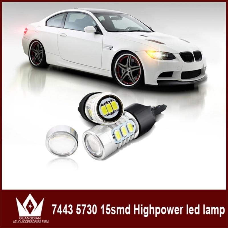 GuangDian 10 шт. авто светодиодные лампы поворотники стоп-сигнал задний фонарь 7443 5730 15smd Автомобильные Аксессуары для Шевроле кобальт