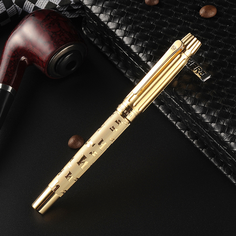 High Quality 12K Golden Luxury fountain pen 0.5mm ink pens metal pen for writing Caneta Stationery with gift box 2057 latest design jinhao dragon and phoenix carving fountain pen stationery luxury metal writing gift art collection ink pens