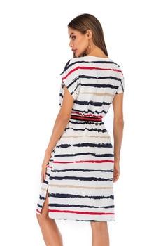 Summer Autumn Striped Dress Women Short Sleeve Sexy Casual Dress O-neck Stripe Women Pocket Elegant Dresses Plus Size 2