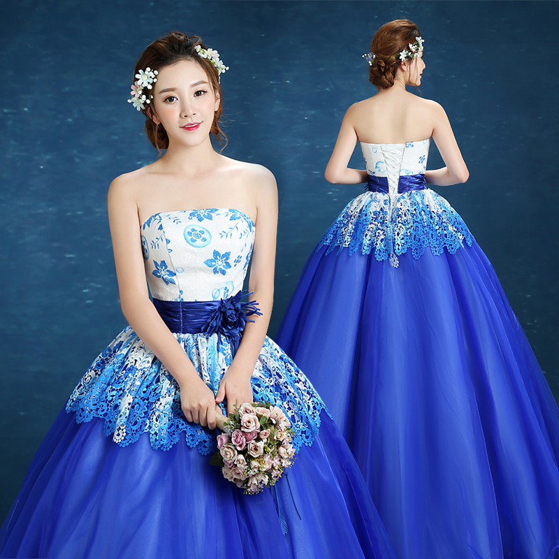 Blue Quinceanera Dresses Lace Appliques Beaded Ball Gown Sweet Strapless Vestidos De 15 Anos Envio Gratis Vestido De Princesa