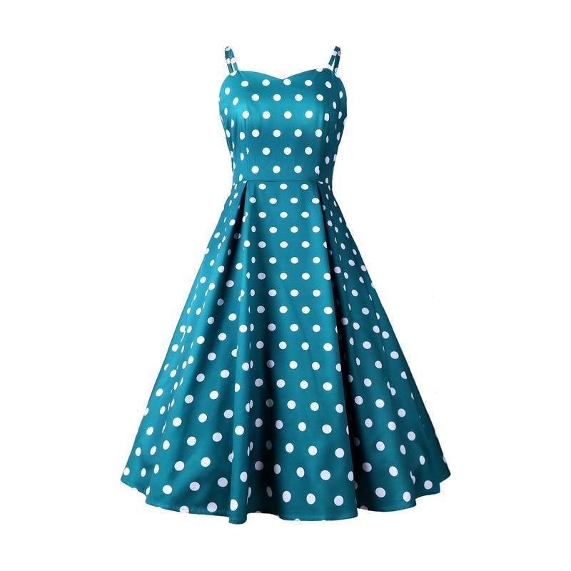 Sexy Party Dress Women Bow Retro Polka Dot Hepburn Vintage Pin Up Rockabilly Dresses Robe Plus Size Elegant Midi USA