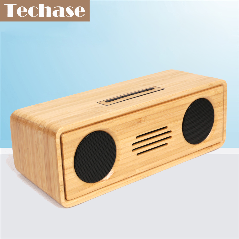 цена на Techase Bamboo Bluetooth Speaker Portable Soundbar Wireless Speakers Subwoofer MP3 Music Altavoces Mini Caixa De Som Bluetooth