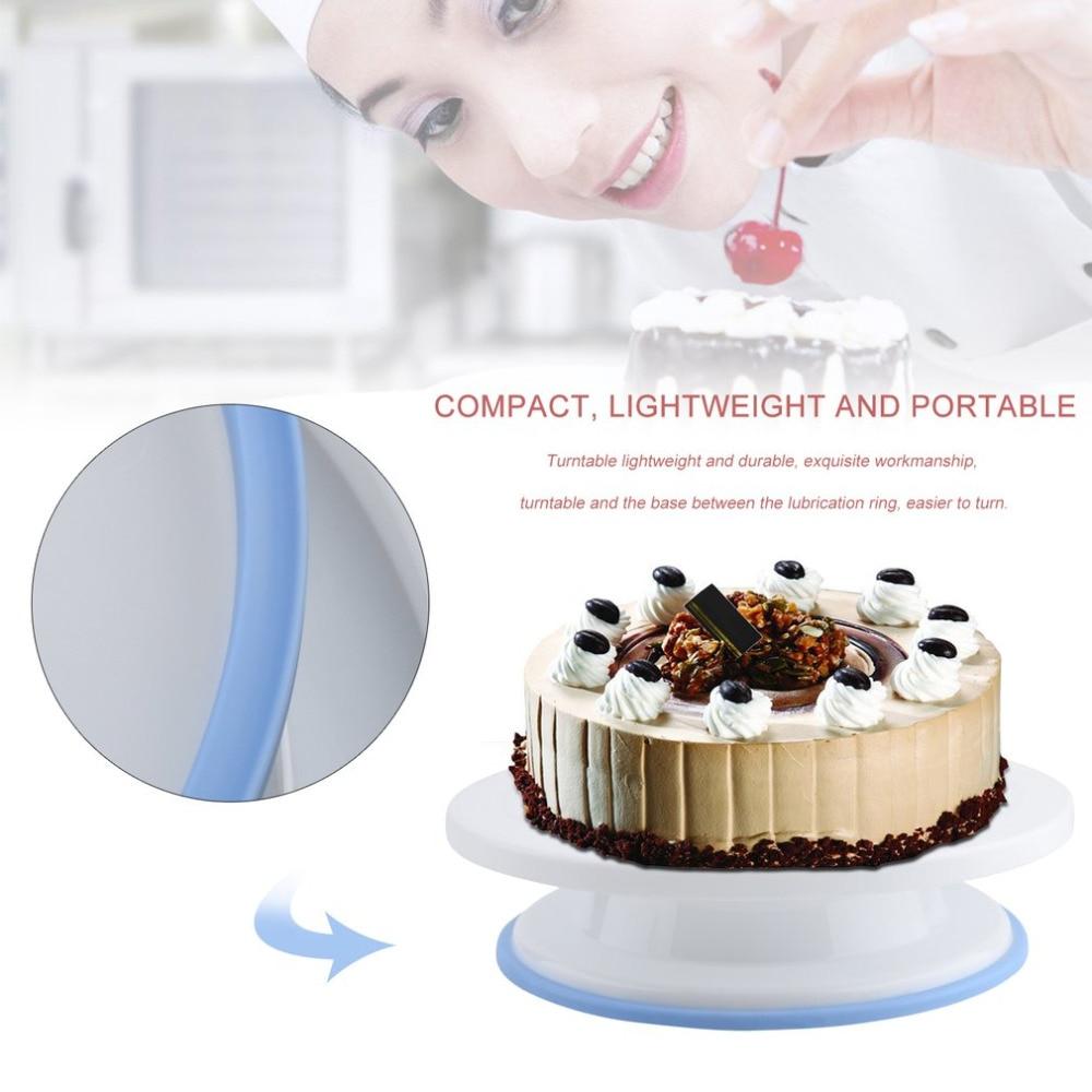 2018 Kitchen Cake Plate Revolving Decoration Stand Platform Turntable Round Antiskid Rotating Cake Swivel 28cm Baking Tool