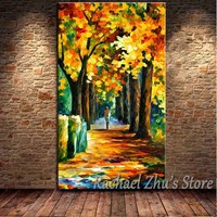 Hand Painted Abstract Autumn Forest Palette Knife Oil Painting On Canvas Yellow Leaf Wall Pictures Living Room Home Wall Decor