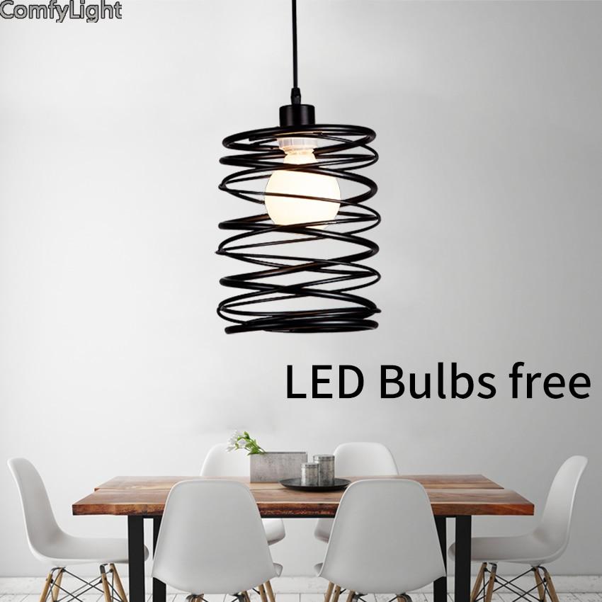 Loft creative nordic pendant lights spring shape iron for Suspension luminaire 2 lampes