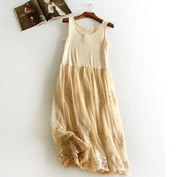 Embrodiery Floral Lace Inner Underskirt Vest Dress Medium Long Loose Guaze Double Layer Elastic Petticoat Autumn